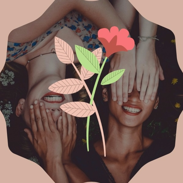 粉色花朵插画女生节矢量图