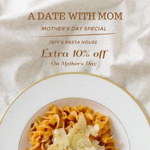黄色母亲节餐厅主体海报