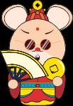 鼠年财神财神爷红色鼠