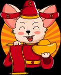 老鼠财神鼠鼠年橙色