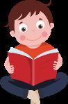 儿童读书小孩红色小朋友