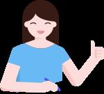 女孩學生贊大拇指畫畫