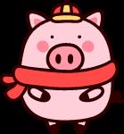 卡通小猪猪猪年棕色黄色