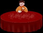 人物桌子包饺子男孩食物