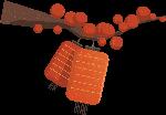 树枝灯笼红灯笼手绘装饰