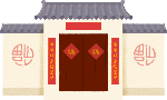 房子淡黄色灰色中式建筑中国风