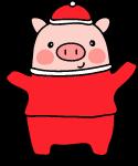 卡通小猪猪猪年黑色红色