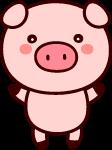 卡通小猪猪猪年棕色红色