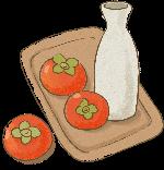 柿子酒餐盘水果瓶子
