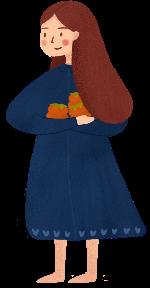 抱柿子的女孩可爱女孩女生女人