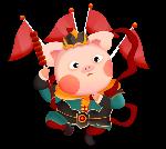 手绘门神猪猪猪年红色