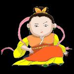 织女七夕橘色黄色粉色七夕节
