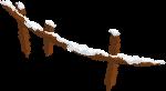 栅栏木桩木头积雪手绘