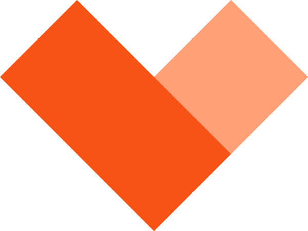 一个由矩形组成的橙色棱形爱心爱心爱爱情心