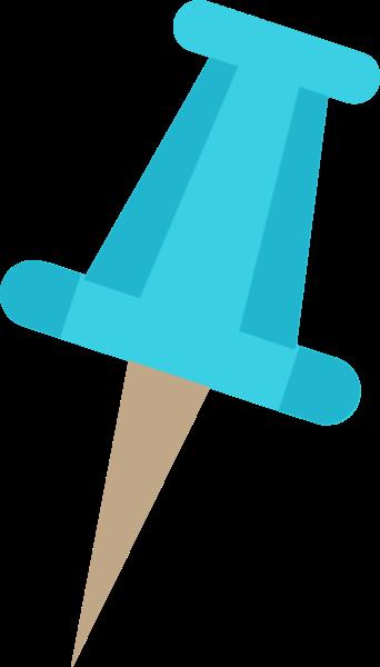 图钉工具订书钉蓝色矢量