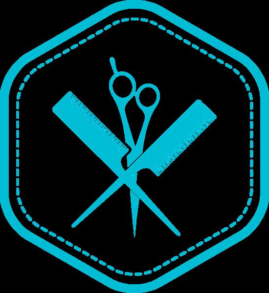 理发剪刀logo梳子卡通
