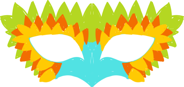 面具假面羽毛装饰彩色