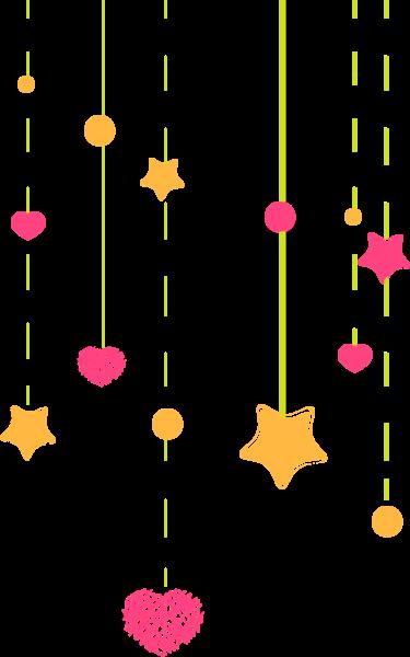 彩带星星爱心梦幻黄色