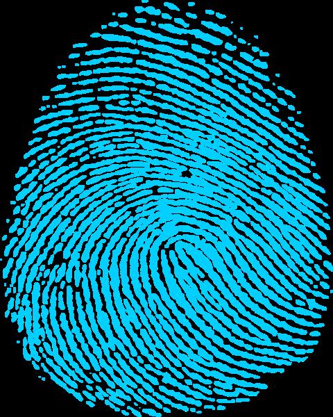 指紋證據圖標藍色橢圓