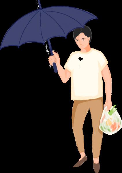 男人撑伞伞走路男性