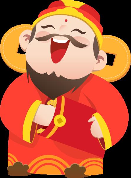 财神爷中国风卡通人物新年祝福
