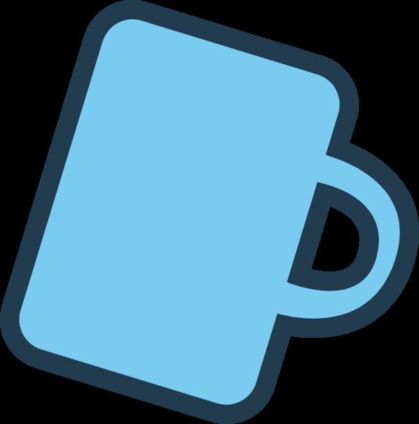 杯子水杯蓝色图标标志