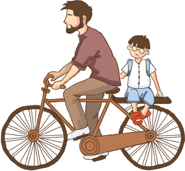 骑车父子爸爸儿子男人