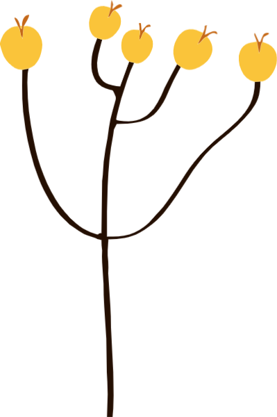果树树简约卡通水果