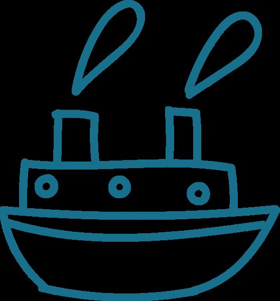 轮船交通工具蓝色手绘旅行