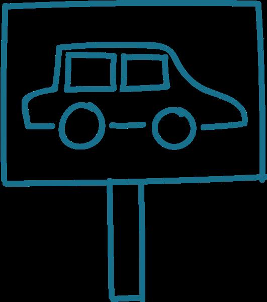 汽车标识汽车车指向牌手绘