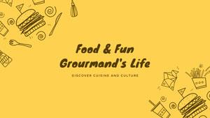 黃色卡通食物主題封面