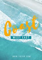 海滩沙滩海浪聚会夏日蓝色简约